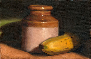 Oil painting of a banana wrapped around an earthenware jar.