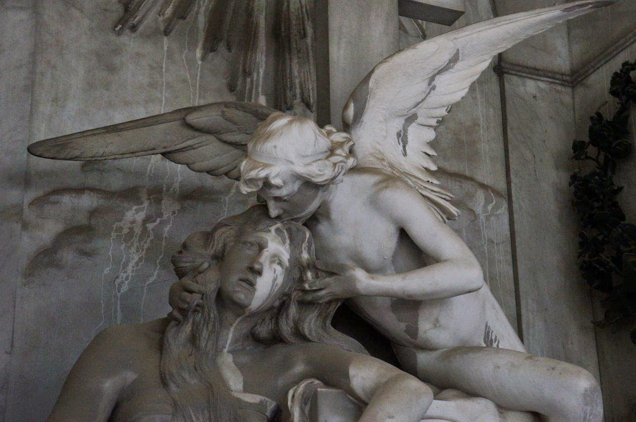 Statues from the Monumental Cemetery of Staglieno in Genoa Italy.