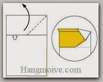 Bước 5: Từ vị trí mũi tên, mở lớp giấy, kéo và gấp lớp giấy lên trên.