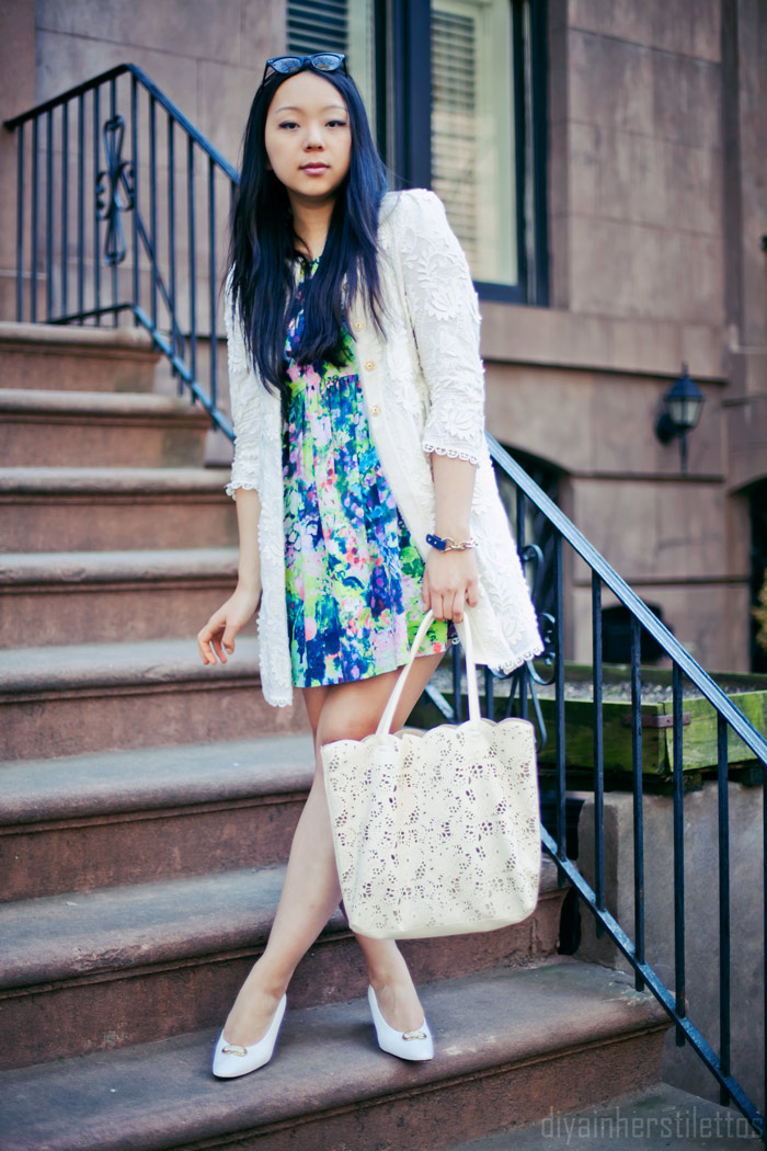 diya liu, zara floral spring shift dress, zara lace white coat crochet, karen miller vintage white pumps, buco laser cut lace cream tote, Polette cateye sunglasses, massi bracelet, nyc fashion blog, new york street style