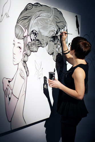 London based, award winning illustrator, painter, muralist and performer with distinctive and diverse styles, Miss Led work ranges from canvas to cars.