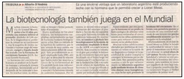 LA BIOTENOLOGÍA TAMBIÉN JUEGA EN EL MUNDIAL.
