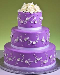 Silver And Purple Wedding Cakes
