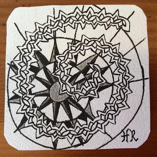 Zentangle, Diva Challenge #233, Zenith, Vano, Sakura Graphic 1 pen, light to go places