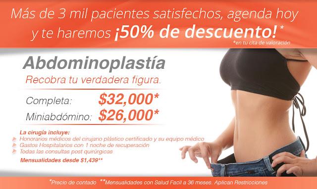 Precio del paquete de abdominoplastia o lipectomia en Guadalajara