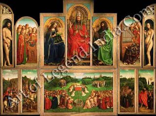 "The Great Artist Van Eyck Painting ""The Ghent Altarpiece"" c. 1425-32 138"" x 131"" Sint Baaf, Ghent"