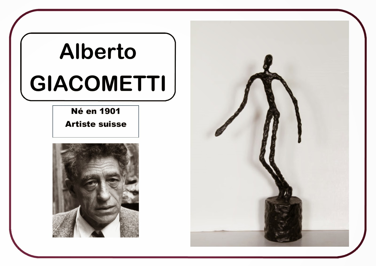 Portrait artiste Giacometti en MS