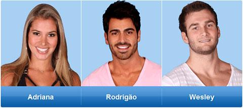 Rodrigão, Adriana ou Wesley: Quem sai do BBB nesta terça?