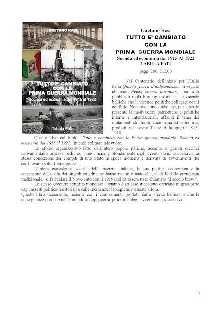 Gaetano Rasi, Tutto è cambiato con la prima guerra mondiale (Ed. Tabula Fati)