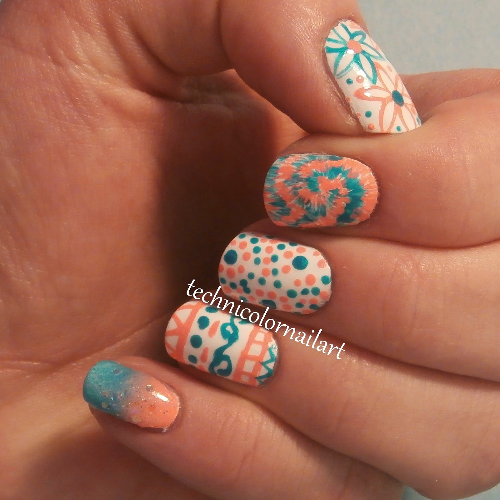 Complementary colors skittle nail art