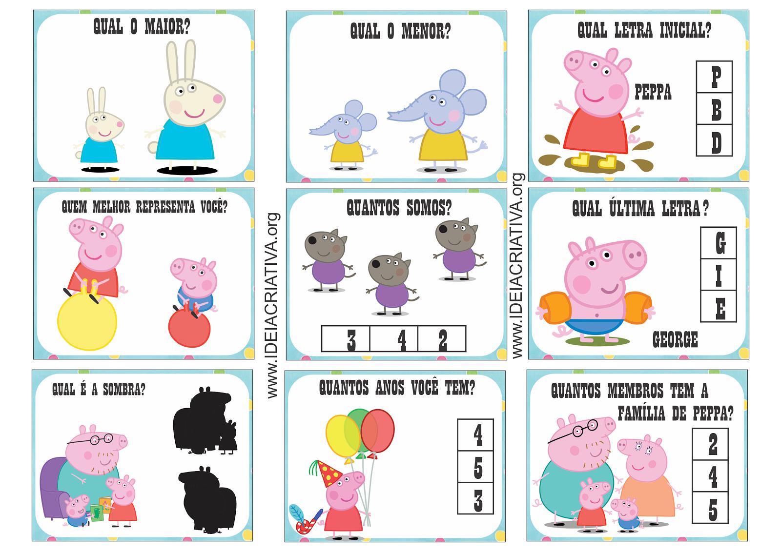 Cartões Sondagem Peppa Pig Sala de Recursos Multifuncional
