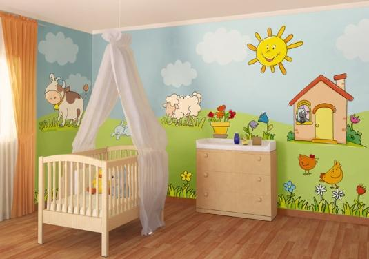 Decoraci n de dormitorio infantil con pegatinas de pared for Pegatinas pared dormitorio