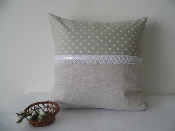 Polka dotted linen and lace cushion, throw pillow, pillow in vintage style, bridal shower gift