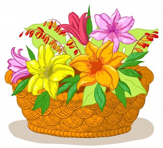 Basket of Flowers Illustration