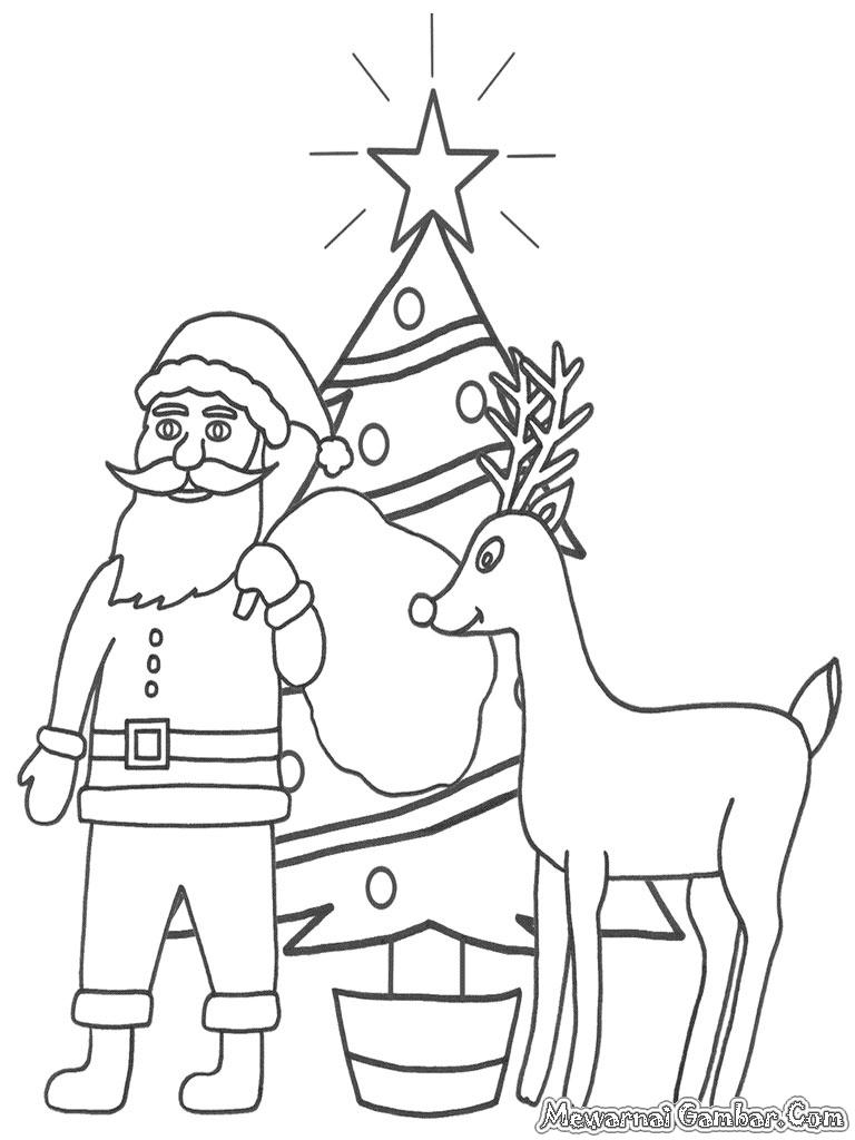 Gambar Santa dan rusa kutub membawakan hadiah Natal untuk diwarnai