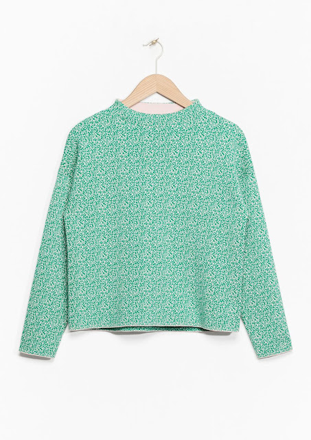 green high neck jumper, green patterned high neck jumper, stories green jumper,
