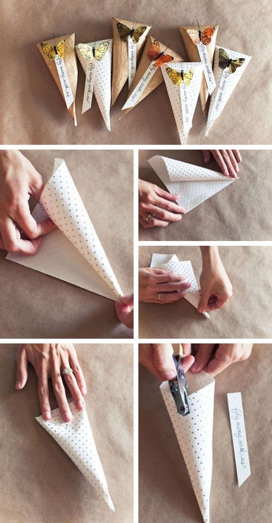de casamento cones com borboletas - Fáceis de fazer e lindas