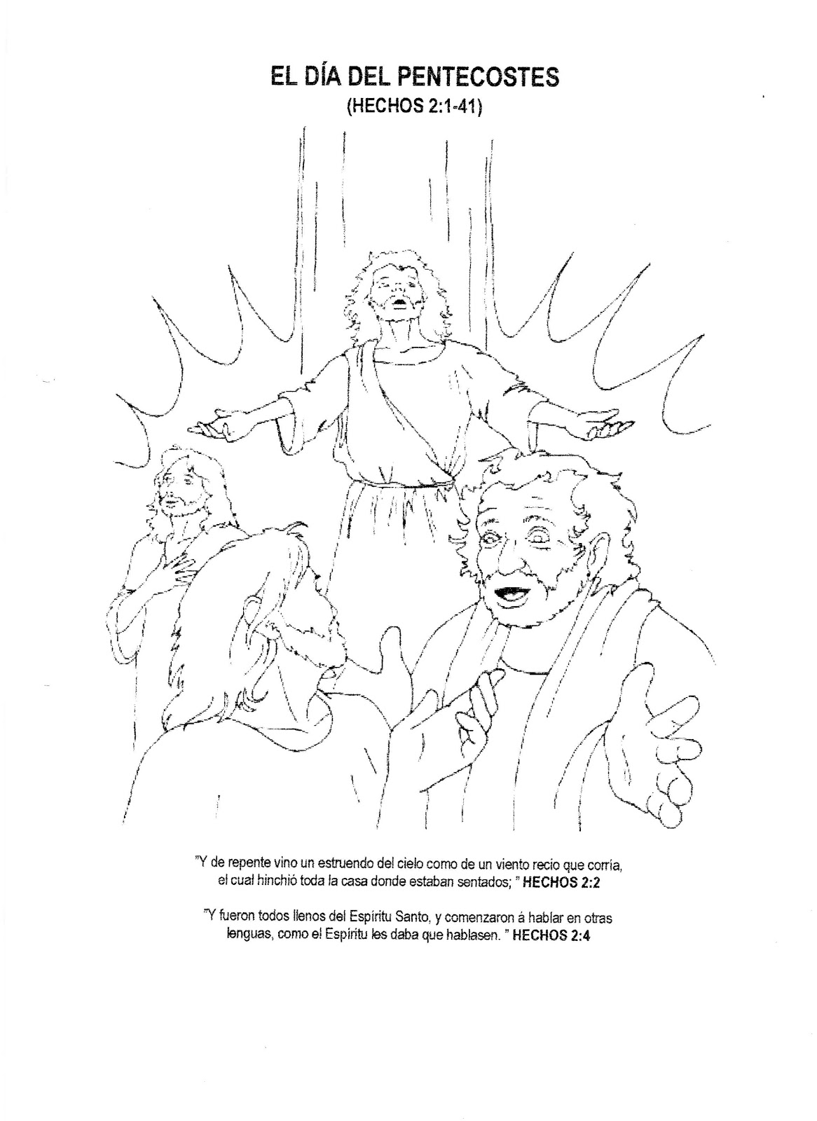 El dia de Pentecostes Para Colorear