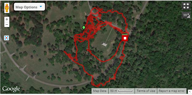 My 1.94 mile route to find the Greater Pewee  in Bear Creek Park