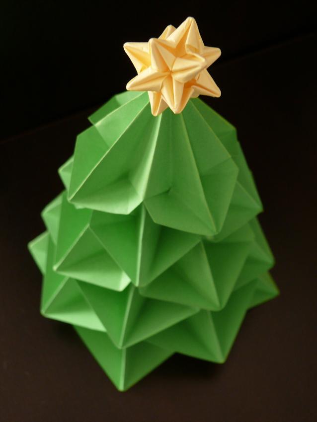 Salitre y papel adornos navide os - Arbol de navidad origami ...