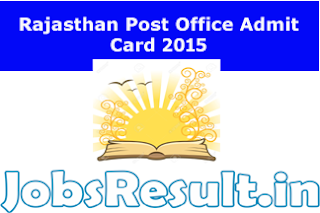 Rajasthan Post Office Admit Card 2015
