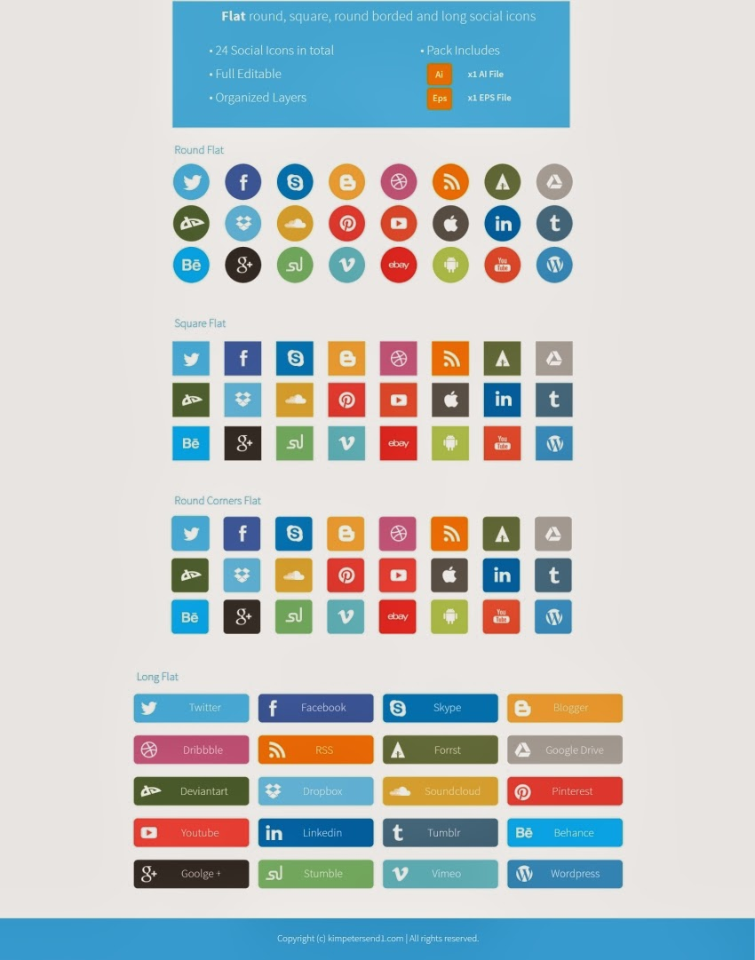 Round Flat social icons