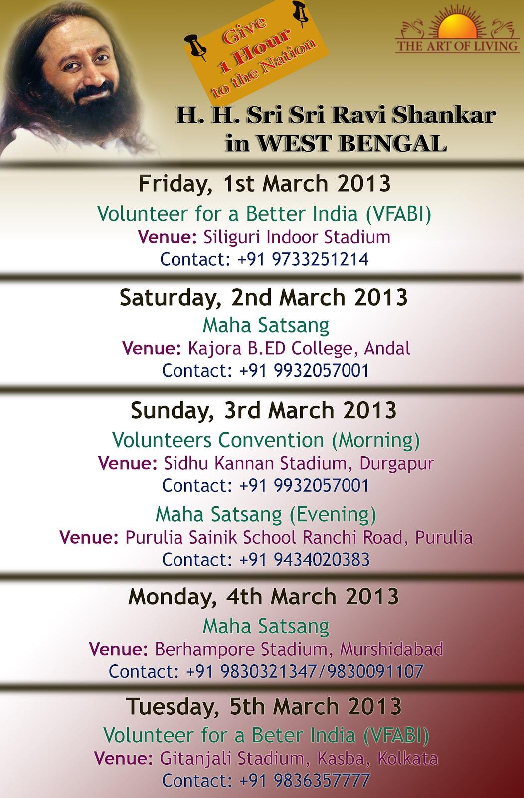 Sri Sri Ravi Shankar visits Kolkata