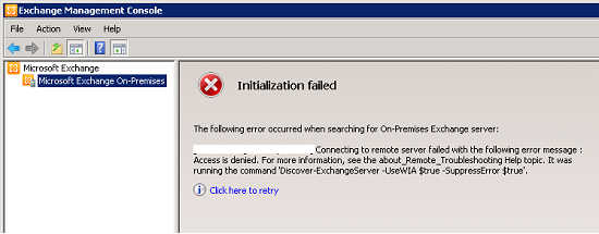 Teamxchange exchange management console connect to an incorrect server initialization failed - Exchange management console ...