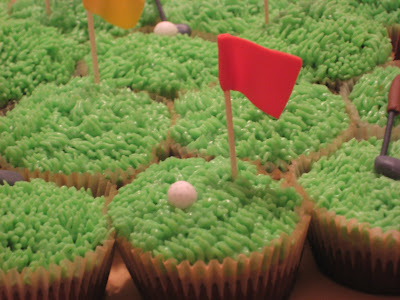 Golf Themed Cheesecake Brownie Cupcakes - Close Up View 1