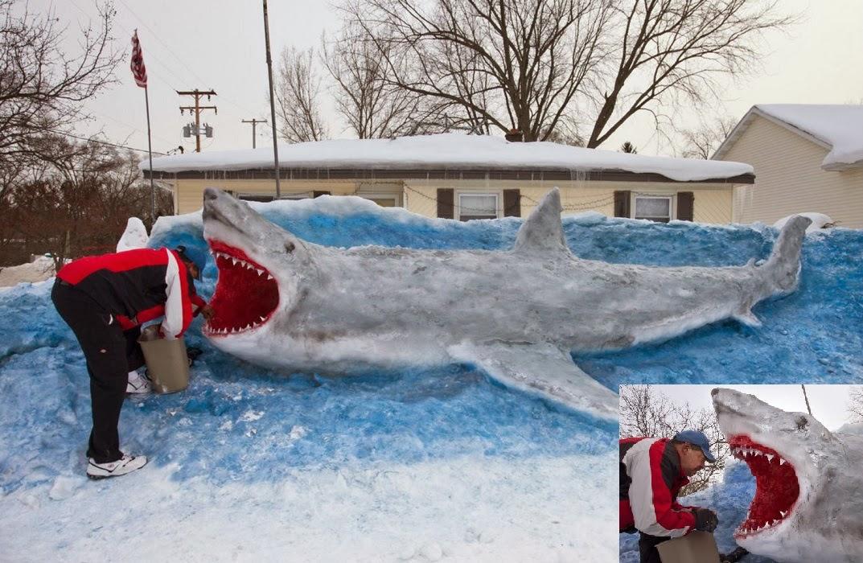 Great White Snow Shark In Michigan