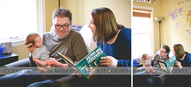 lifestyle photos of parents reading book to newborn baby