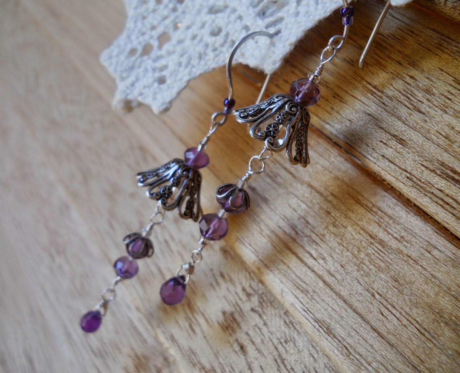 amethyst rain drop earrings, wind dancer studios