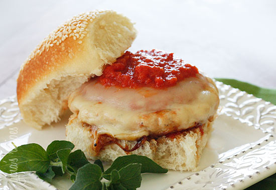 Chicken Parmigiana Burgers Recipe — Dishmaps