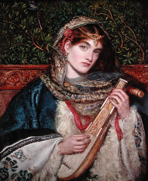 marie spartali stillman playing music