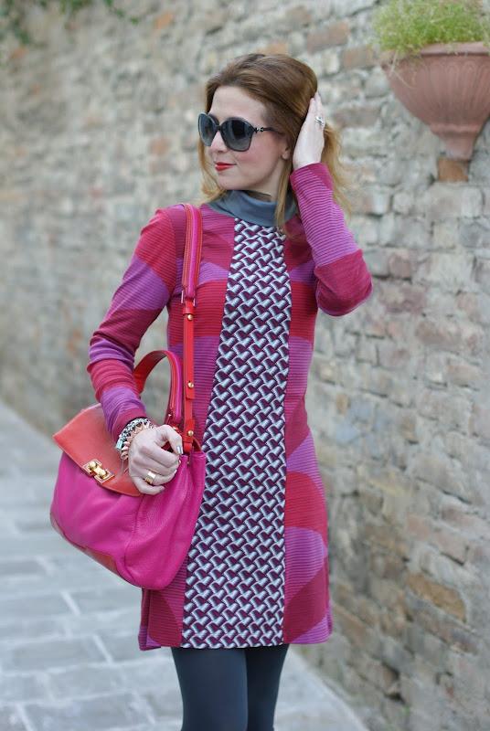 Custo fantasy print dress, fuchsia and red, Fashion and Cookies