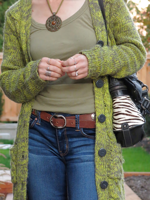 tank top, chunky grandpa cardigan, medallion necklace, and Fossil bag