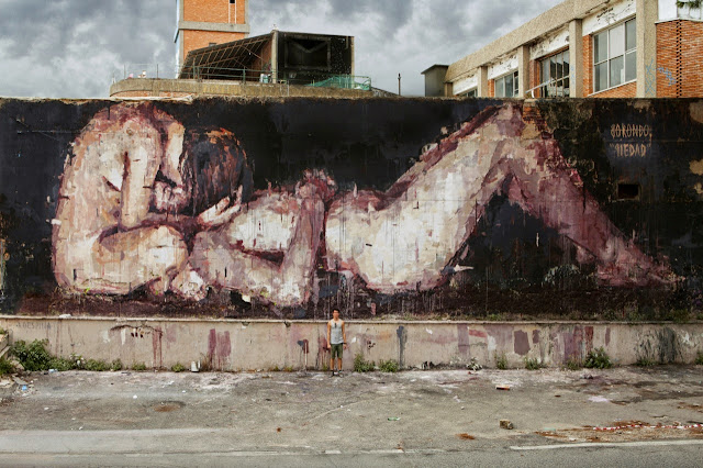 """Piedad"" New Street Art Piece By Borondo On the streets of Rome, Italy. 1"