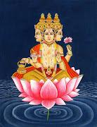 Lord BrahmaHindu God Brahma Imagesseated on Lotus flower