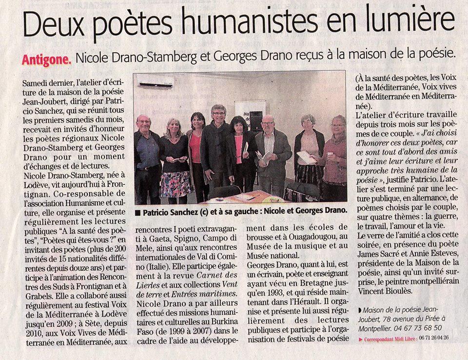 Midi LIbre (13/04/2019) Atelier d'écriture - lecture - Maison de la Poésie Jean Joubert.-