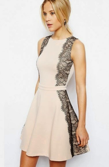 light pink skater dress with black lace side panels