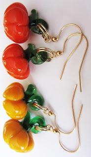Blown Glass Pumpkin Earrings Kirsten USA