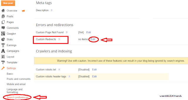 how to redirect moved or deleted urls in blogger