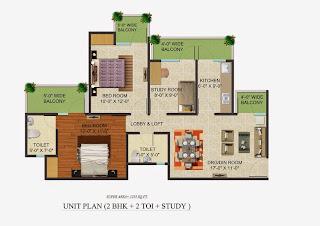 Golf Country, Yamuna Expressway :: Floor Plans,Golf Village:-Studio Unit Plan Plot Area: 1255 Sq. Ft.
