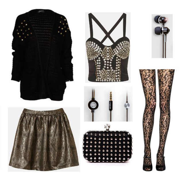 Midnight BassBuds with black gold edgy outfit compilation, black cardigan with gold studs, black and gold bustier, gold leather skater skirt, skull clutch, fancy leggings, Midnight black BassBuds, Earbuds, audio equipment, Audio and fashion, polyvore