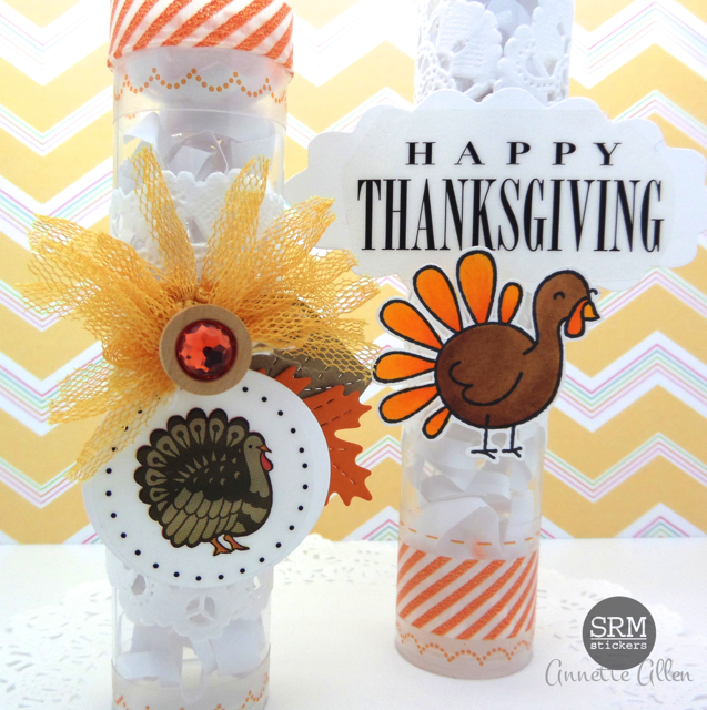 SRM Stickers Blog - Thanksgiving Tubes by Annette - #thanksgiving #tubes #stickers #tabledecor