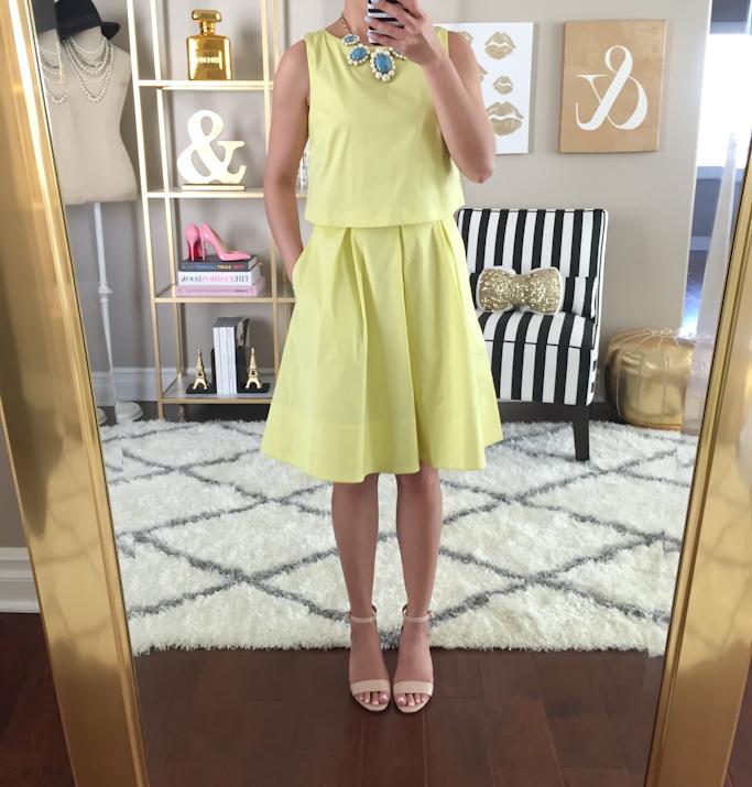 Loft Poplin crop illusion dress and BP luminate nude blush sandals