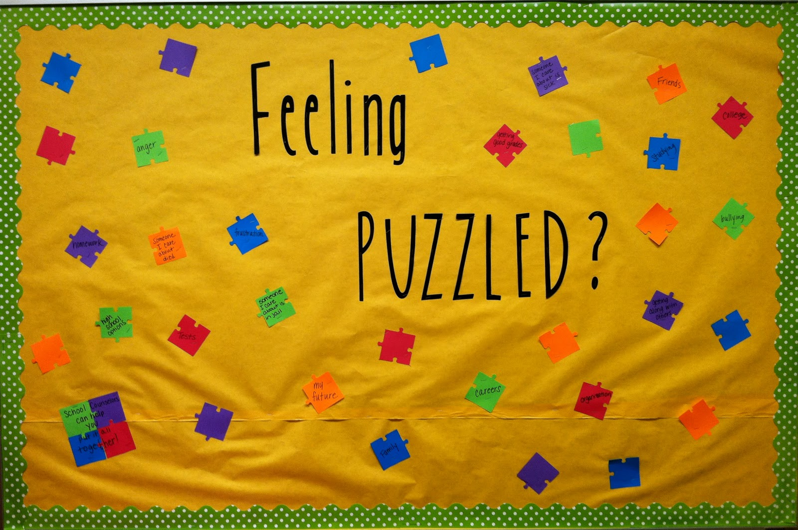 School counselor blog feeling puzzled school counselors for I can bulletin board ideas