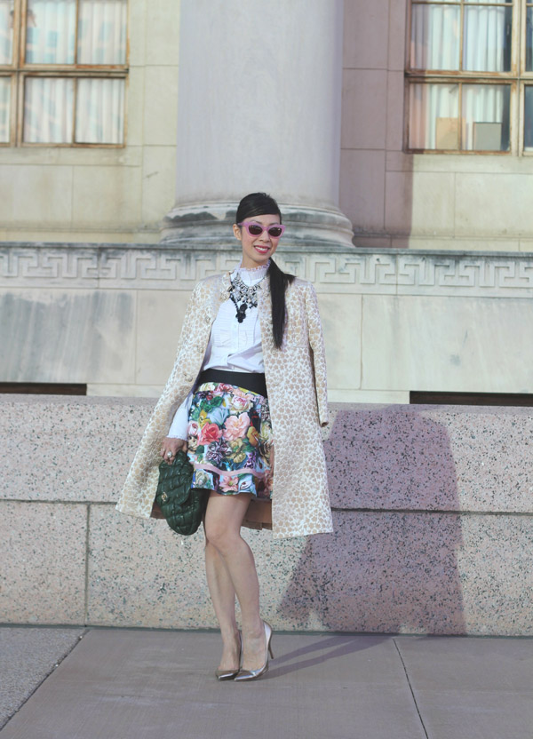 ted baker london decoupage floral skirt, ann taylor ruffle collar top, lookmatic patti goes to paris sunglasses, valentino gold pumps, Forever 21 and Zara crystal bib necklace, opera coat, chanel bubble quilt bag