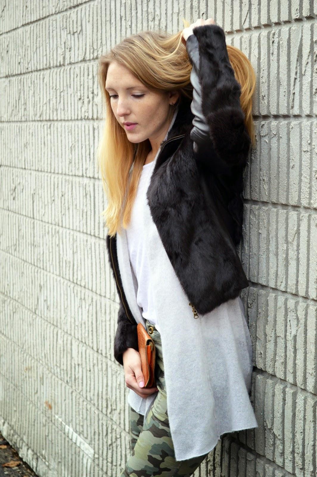 women's fur leather bomber jacket