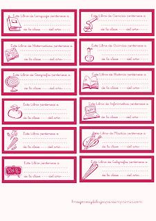 Etiquetas para libros rosa